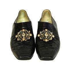 CHANEL Black Lizard Shoes W/Zipper & Bead Cluster - Sz 39
