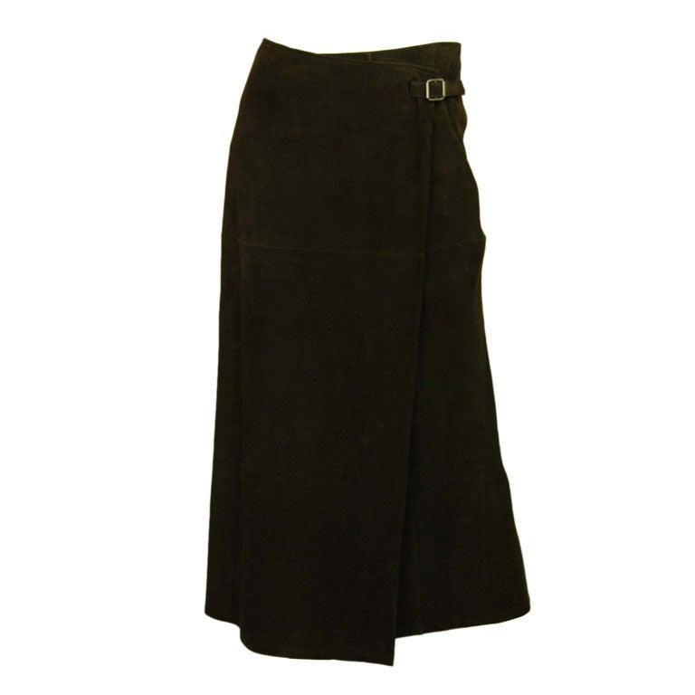 HERMES Long Brown Suede Skirt
