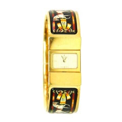 HERMES Enamel Bangle Loquet Clic Clac Watch