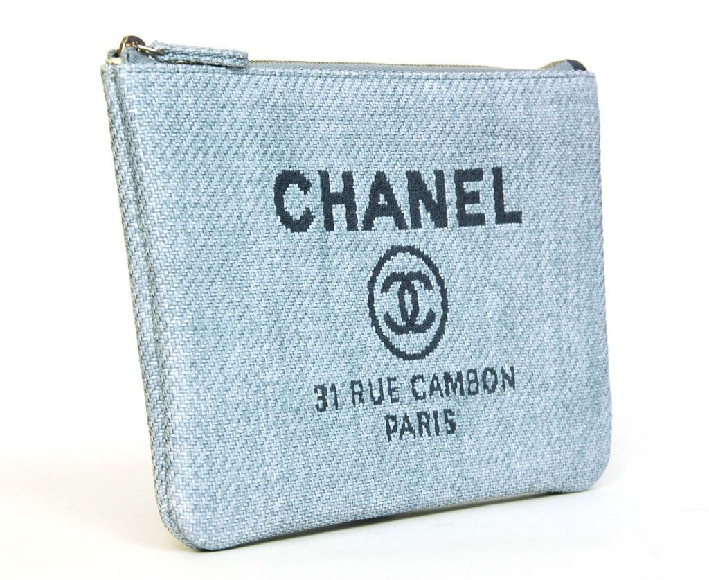 570d9a162af9 Chanel Blue Raffia RUE CAMBON Cosmetic Pouch/Clutch Age: c.2014 Made in