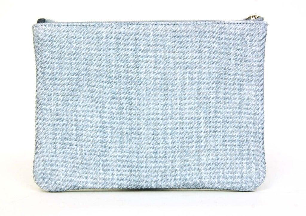 1bb7bc68962e CHANEL Blue Raffia RUE CAMBON Cosmetic Pouch/Clutch In New Condition For  Sale In New