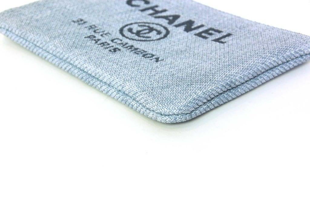 CHANEL Blue Raffia RUE CAMBON Cosmetic Pouch/Clutch 4