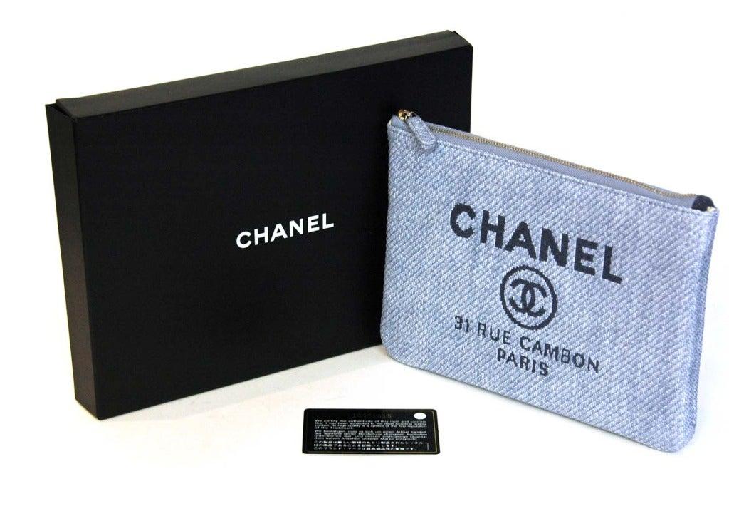 8f1c3e135432 CHANEL Blue Raffia RUE CAMBON Cosmetic Pouch/Clutch For Sale 5
