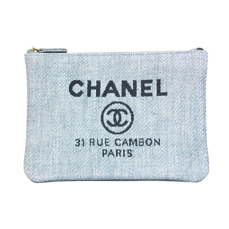 CHANEL Blue Raffia RUE CAMBON Cosmetic Pouch/Clutch 1