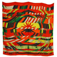 Hermes Orange/Red/Green Astrologie Nouvelle Print 140cm Giant Silk Scarf Shawl