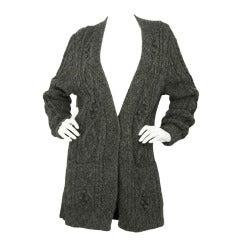 HERMES Grey Alpaca Cardigan W/Pockets-Sz 40
