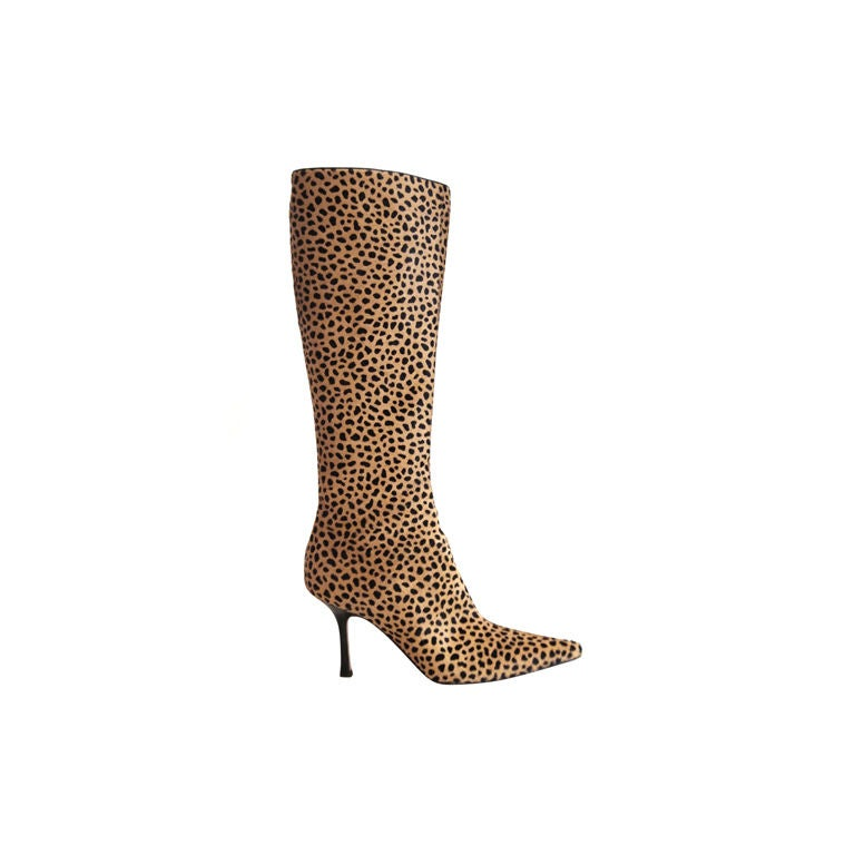 jimmy choo ponyhair leopard knee high boots sz 39 5 at