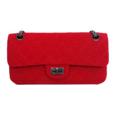 Chanel Red Jersey East/West Classic 2.55 Reissue Double Flap Shoulder Bag