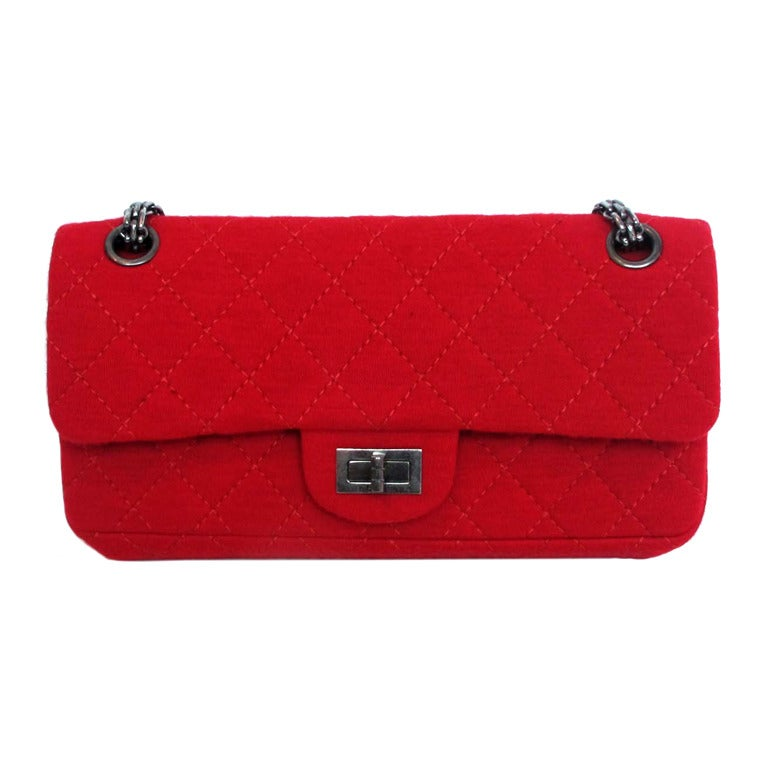 2b90652810b6 Chanel Red Jersey East/West Classic 2.55 Reissue Double Flap Shoulder Bag  For Sale