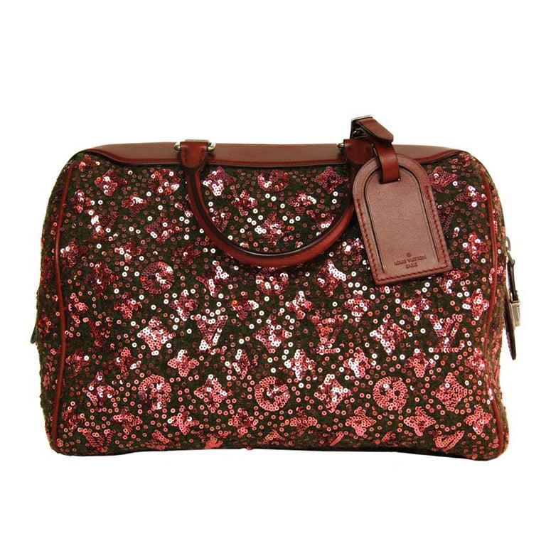 Très Louis Vuitton Burgundy Sequin Monogram Sunshine Express Speedy Bag  AB54