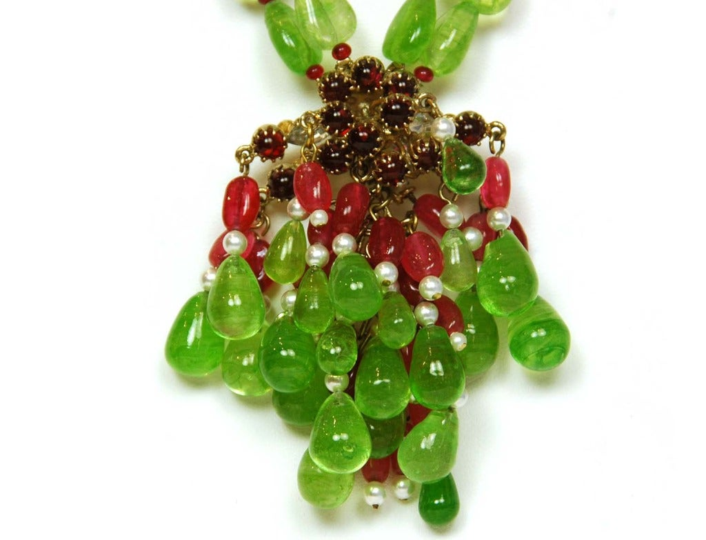 CHANEL Green/Red Two-Strand Necklace W/Glass, Crystals & Faux Pearl Cluster 3