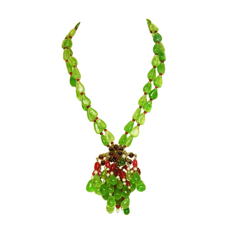 CHANEL Green/Red Two-Strand Necklace W/Glass, Crystals & Faux Pearl Cluster 1