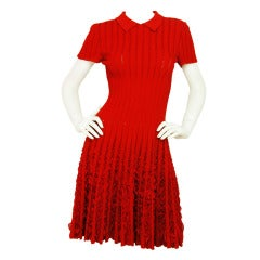 ALAIA Red Shortsleeve Flare Dress With Ruffles Sz 6