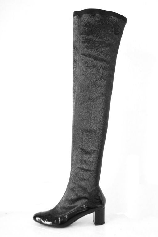 chanel black patent thigh high boots at 1stdibs