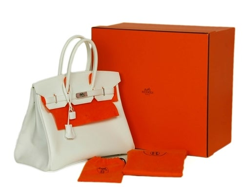 HERMES NEW IN BOX White Epsom Leather 35cm Birkin Bag W. PHW c. 2006 2