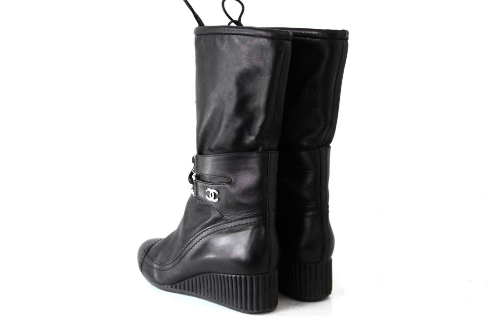chanel 2010 black leather wedge boots at 1stdibs