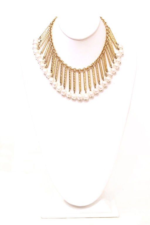 CHANEL VINTAGE GODEN BARS W/ PEARL CHAIN NECKLACE image 2