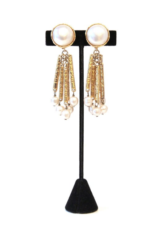 chanel vintage pearl drop earrings w goden bars at 1stdibs