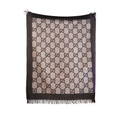 GUCCI BROWN/BEIGE MONOGRAM CASHMERE THROW BLANKET
