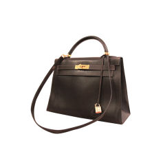 Hermes Chocolate Brown Box Leather Kelly Bag