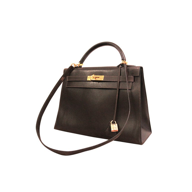 Hermes Chocolate Brown Box Leather Kelly Bag at 1stdibs