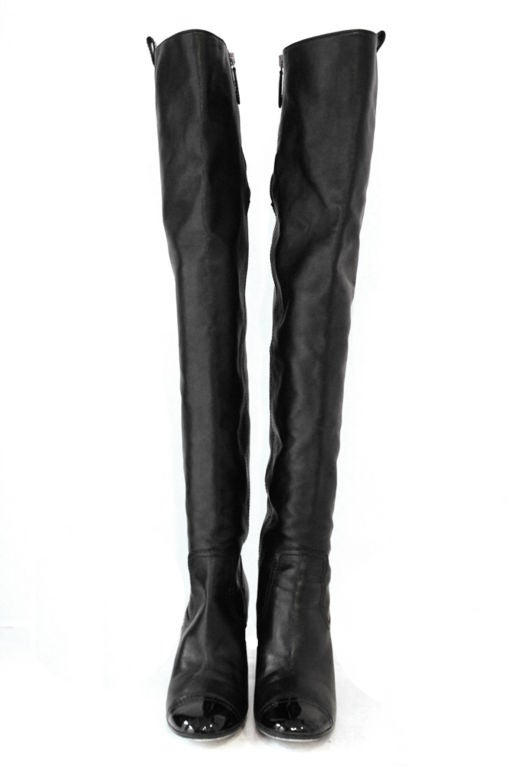 CHANEL BLACK LEATHER OVER THE KNEE BOOTS W/ PATENT TOE at 1stdibs