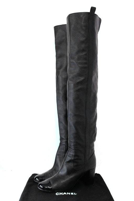 Chanel Black Leather Over The Knee Boots W Patent Toe At