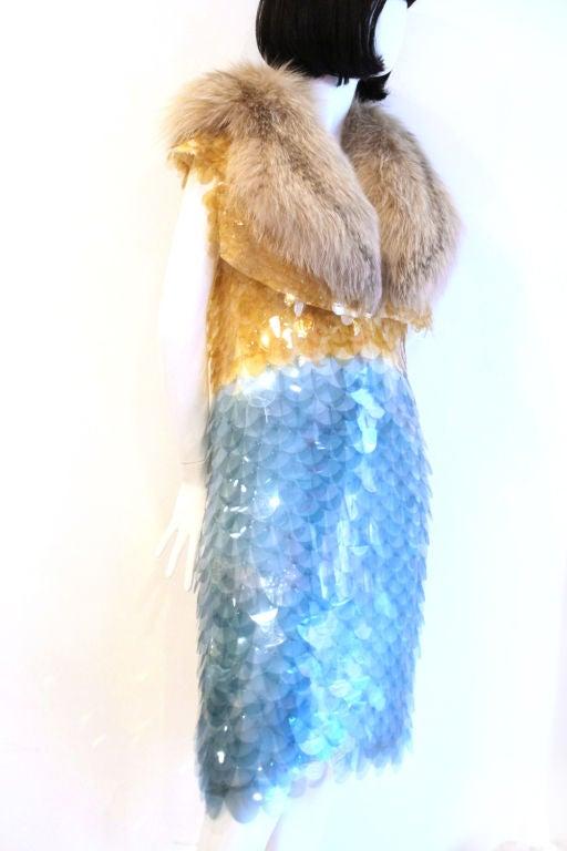 RARE PRADA FW11 GOLD/BLUE PAILLETTE SCALE DRESS W/ FUR COLLAR image 2