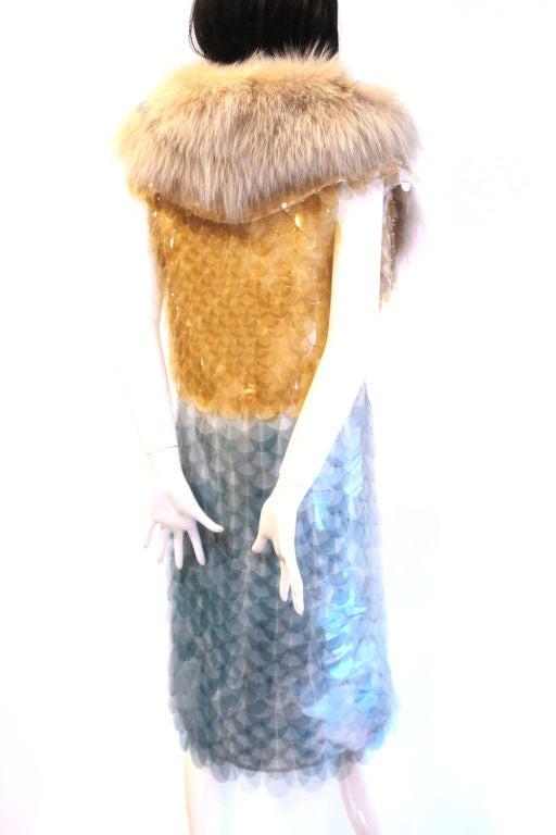 RARE PRADA FW11 GOLD/BLUE PAILLETTE SCALE DRESS W/ FUR COLLAR image 4