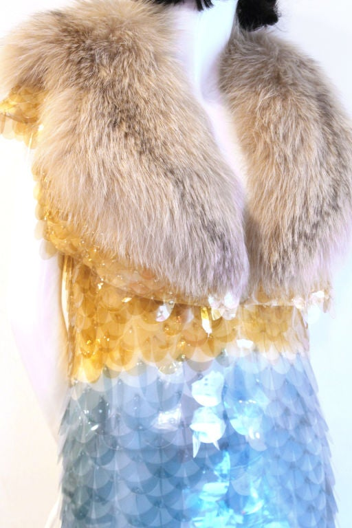 RARE PRADA FW11 GOLD/BLUE PAILLETTE SCALE DRESS W/ FUR COLLAR image 5