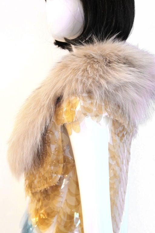RARE PRADA FW11 GOLD/BLUE PAILLETTE SCALE DRESS W/ FUR COLLAR image 6