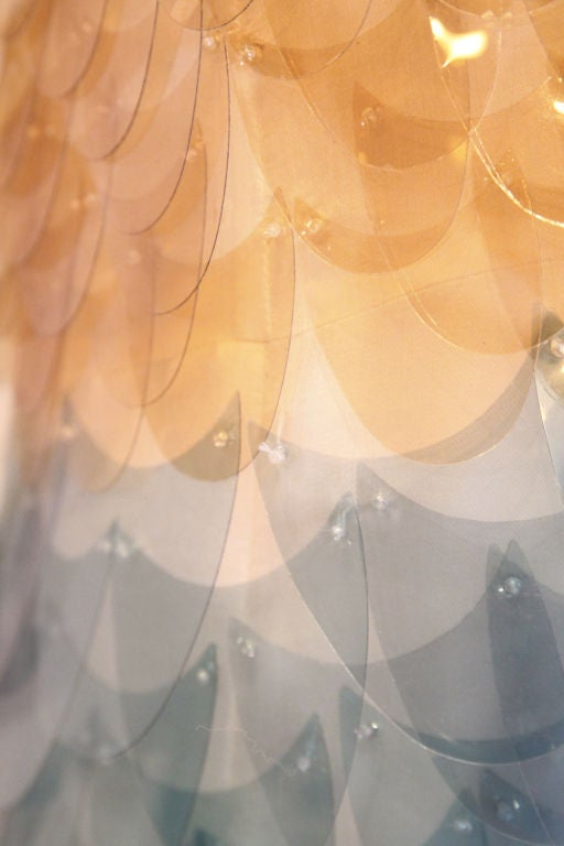 RARE PRADA FW11 GOLD/BLUE PAILLETTE SCALE DRESS W/ FUR COLLAR image 8