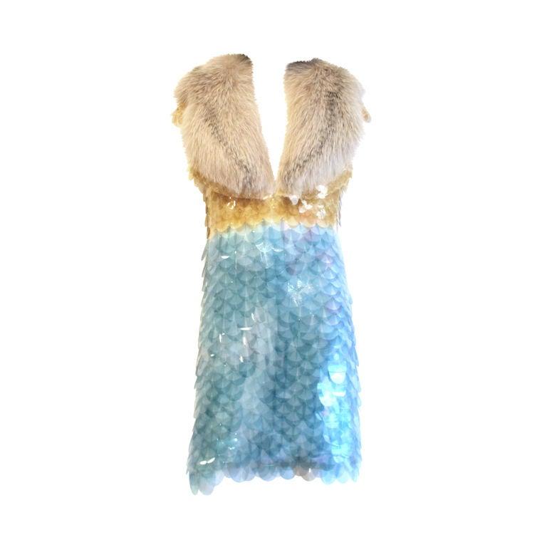 RARE PRADA FW11 GOLD/BLUE PAILLETTE SCALE DRESS W/ FUR COLLAR