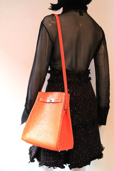 birkin tote bag - Hermes Orange Ostrich Kelly Sport Bag at 1stdibs
