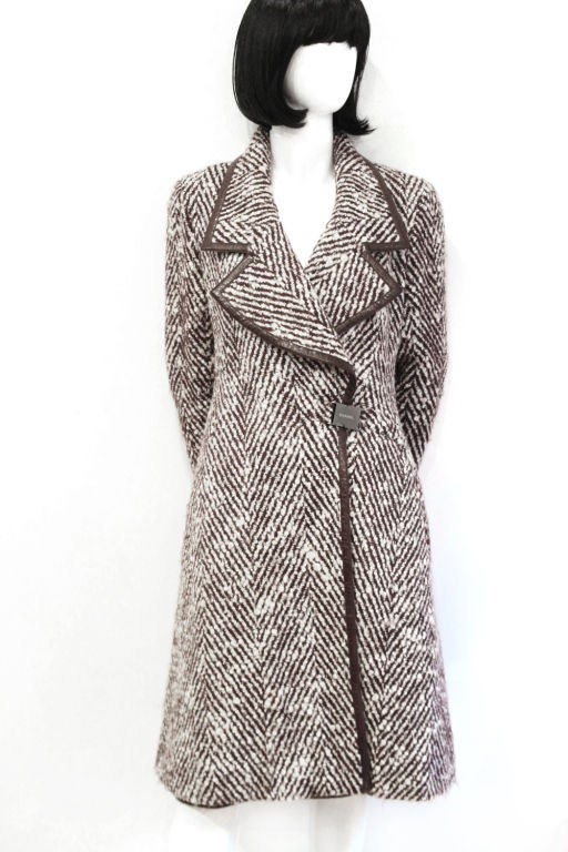 CHANEL 2pc Brown/White Tweed Coat & Skirt w. Leather Trim - sz38 2