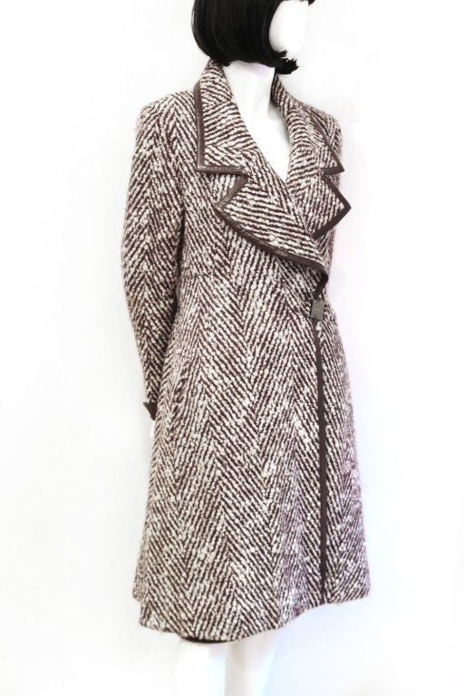 CHANEL 2pc Brown/White Tweed Coat & Skirt w. Leather Trim - sz38 3