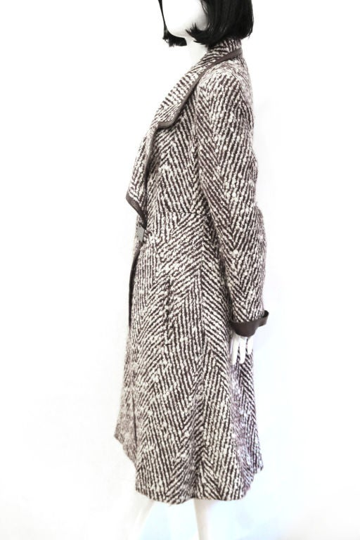 CHANEL 2pc Brown/White Tweed Coat & Skirt w. Leather Trim - sz38 4