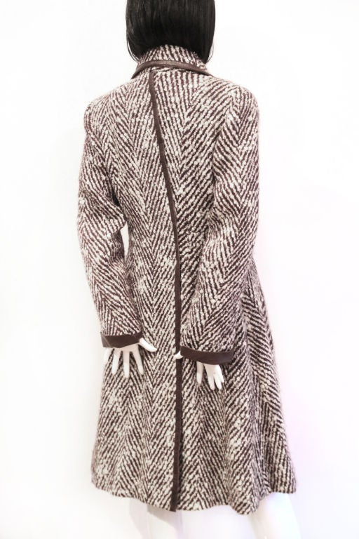 CHANEL 2pc Brown/White Tweed Coat & Skirt w. Leather Trim - sz38 5