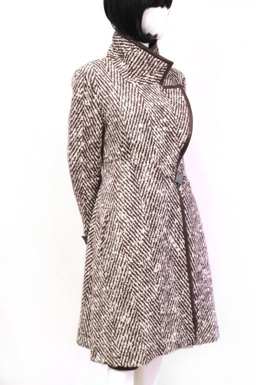CHANEL 2pc Brown/White Tweed Coat & Skirt w. Leather Trim - sz38 6