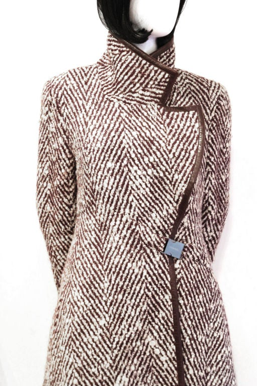 CHANEL 2pc Brown/White Tweed Coat & Skirt w. Leather Trim - sz38 7