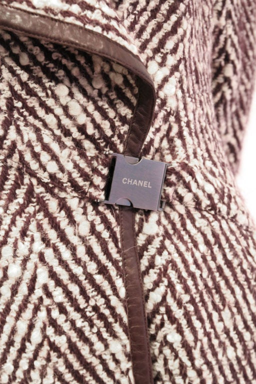 CHANEL 2pc Brown/White Tweed Coat & Skirt w. Leather Trim - sz38 9