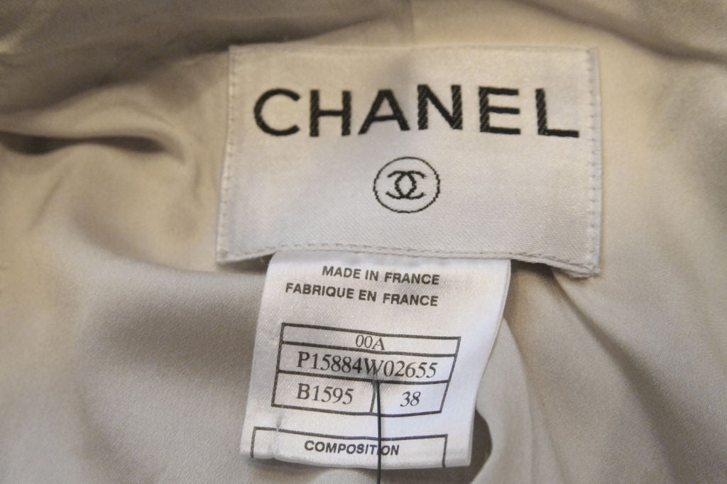CHANEL 2pc Brown/White Tweed Coat & Skirt w. Leather Trim - sz38 10