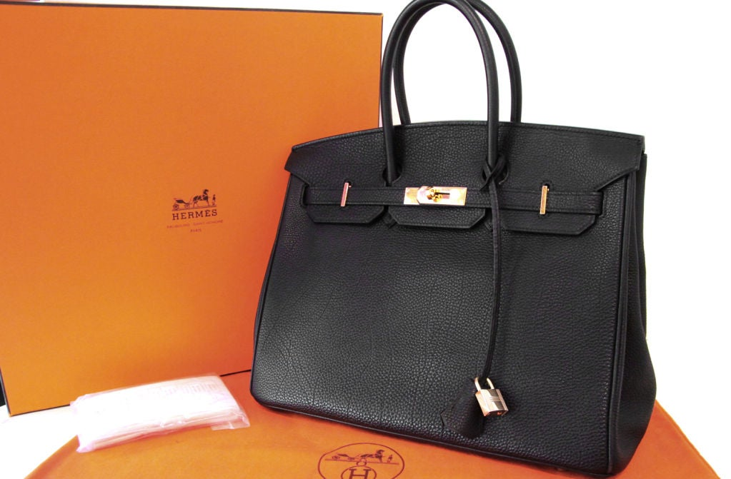 HERMES BLACK LEATHER BIRKIN 35 CM BAG For Sale 7