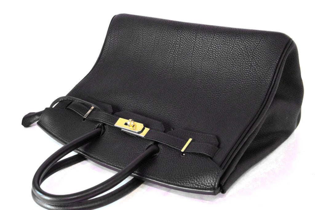 HERMES BLACK LEATHER BIRKIN 35 CM BAG For Sale 2