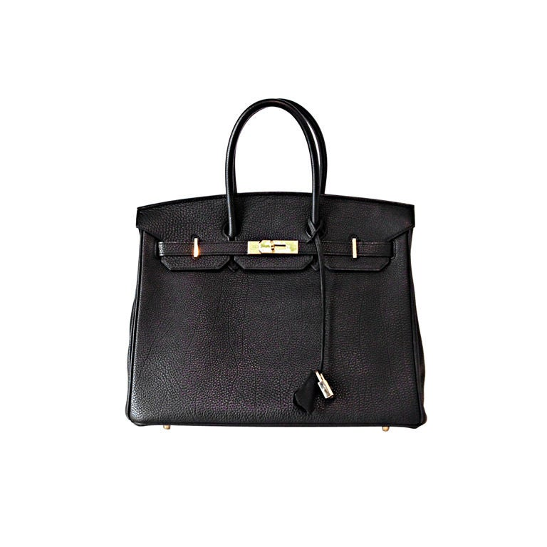 HERMES BLACK LEATHER BIRKIN 35 CM BAG For Sale