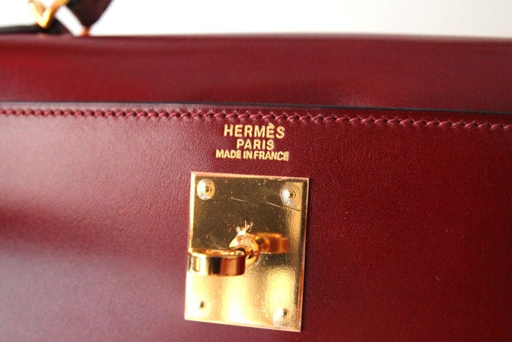 HERMES 2006 ROUGE BOX LEATHER RIGID 32 CM KELLY BAG 5
