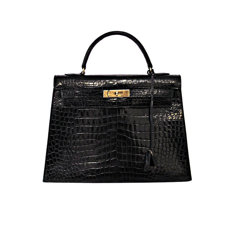 HERMES VINTAGE BLACK CROCODILE 32 CM KELLY BAG For Sale