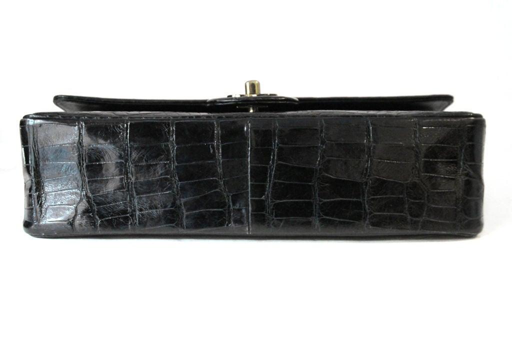 """CHANEL VINTAGE BLACK CROCODILE 10"""" CLASSIC DOUBLE FLAP BAG 4"""