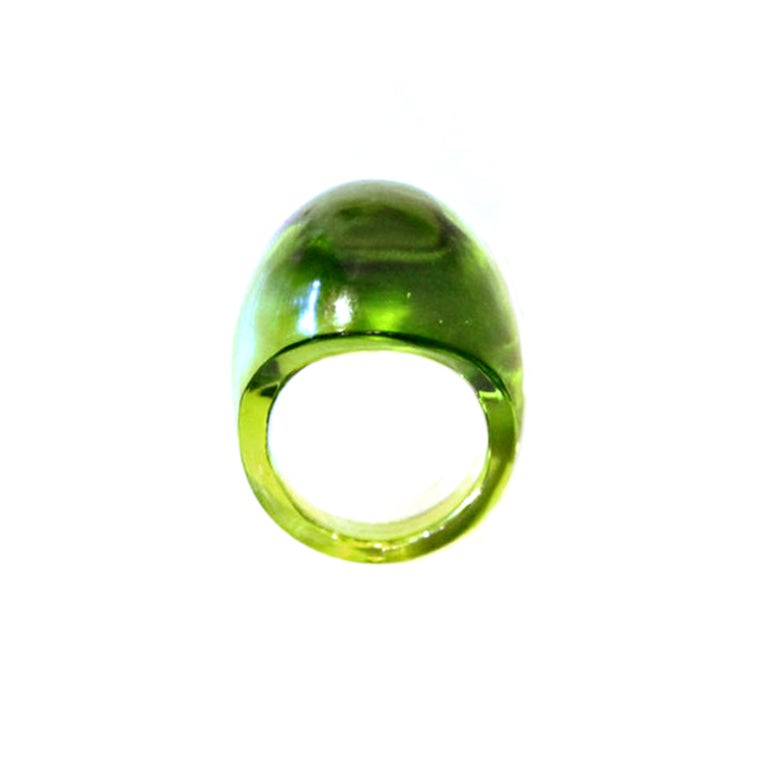 lalique green dome ring sz 5 at 1stdibs