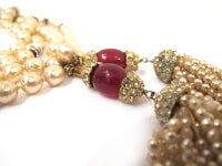 CHANEL necklace with rhinestones and red beads thumbnail 4